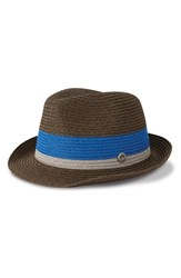 Men's Ben Sherman 'Wide Stripe' Straw Trilby Brown