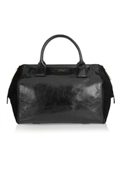 Halston Liz Glossed Leather And Suede Tote Black