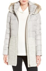 Soia And Kyo Women's Mixed Media Quilted Coat With Genuine Coyote Fur Trim Hood