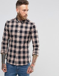 Asos Skinny Buffalo Check Shirt In Dusty Pink Dusty Pink