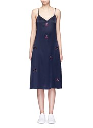 Trademark Embroidered Floral Silk Satin Slip Dress Blue