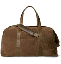 Maison Martin Margiela Leather Trimmed Suede Holdall Brown