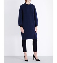 Max Mara Cocoon Wool Angora And Cashmere Blend Coat Navy