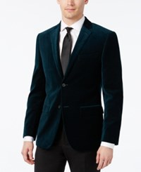 Alfani Velvet Slim Fit Sport Coat Green Petrol