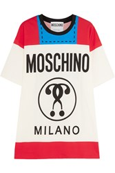 Moschino Printed Cotton Jersey T Shirt Red