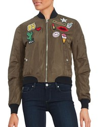Design Lab Lord And Taylor Patched Bomber Jacket Olive