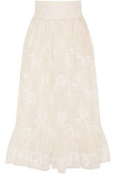 Valentino Embroidered Cotton Voile Skirt Cream