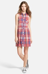 Hinge Sleeveless Plaid Shirtdress Red Beauty Emory Plaid