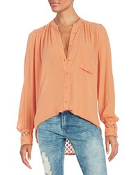Free People The Best Top Crochet Accented Button Front Shirt Peach