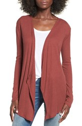 Volcom Women's 'Lived In' Rib Knit Cardigan Crimson