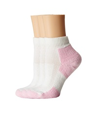 Thorlos Thick Cushion Distance Walking 3 Pair Pack White Pink Women's Quarter Length Socks Shoes
