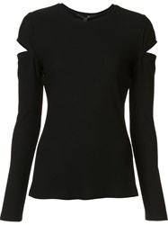 Derek Lam Cut Out Detail Long Sleeve Top Black