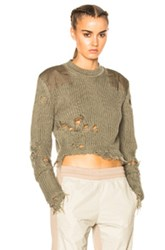 Yeezy Season 3 Destroyed Crop Military Rib Sweater With Patches In Green