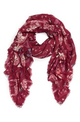 Hinge Women's Floral Print Scarf Burgundy Combo