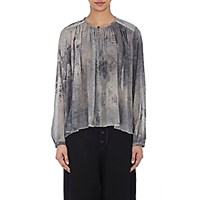 Pas De Calais Women's Shirred Gauze Peasant Blouse Light Grey Dark Grey Light Grey Dark Grey