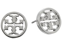 Tory Burch Logo Circle Stud Earrings Silver Earring
