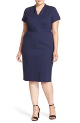 Plus Size Women's Sejour Belted Ponte V Neck Sheath Dress