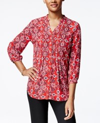 Charter Club Petite Floral Print Pintucked Shirt Only At Macy's New Red Amore
