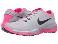 Nike Flex Supreme Tr4 Wolf Grey Pink Blast White Black Women's Cross Training Shoes Gray