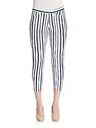 Hue Striped Cotton Blend Cropped Leggings Nearly Navy