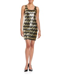 Guess Sequined Sheath Dress Gold Black