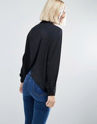 Asos Blouse With Wrap Back Black