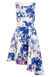 Quiz Cream Flower Print Asymmetric Dress