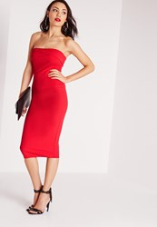 Missguided Layered Bandeau Midi Dress Red Red