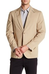 Flynt Khaki Poplin Two Button Notch Lapel Jacket Beige
