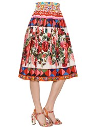 Dolce And Gabbana Floral Printed Cotton Poplin Midi Skirt