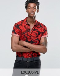 Reclaimed Vintage Party Shirt In Rose Print In Reg Fit Black