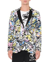 Moschino Neon Printed Contrast Lapel Jacket Multi Women's