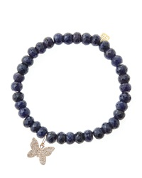 Sydney Evan Blue Sapphire Rondelle Beaded Bracelet With 14K Gold Diamond Small Butterfly Charm Made To Order