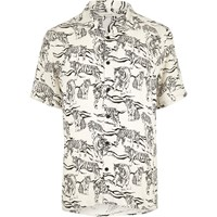 River Island Mens Ecru Tiger Print Short Sleeve Shirt Beige