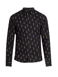 Marni Contrast Dot Print Cotton Poplin Shirt Navy Multi