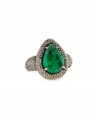Bavna Teardrop Emerald And Pave Diamond Cocktail Ring Size 6.25