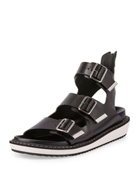 Swiss Gladiator Leather Sandal Black Givenchy