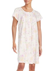 Miss Elaine Floral Lace Trimmed Nightgown Pink White