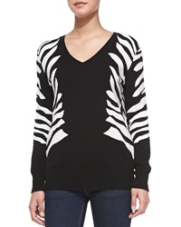 Neiman Marcus Cashmere Collection Zebra Intarsia V Neck Cashmere Sweater X