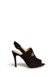 Charlotte Olympia 'Face To Face' Suede Slingback Mule Sandals Black