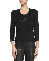 Carolina Herrera Beaded Knit Bolero Black