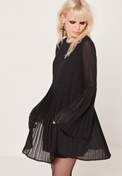 Missguided Black Long Sleeve Pleated Swing Dress