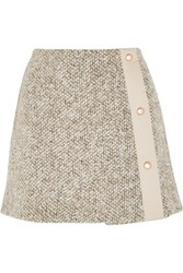 See By Chloe Wool Blend Tweed Mini Skirt Beige