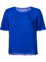 Elie Tahari Scoop Neck T Shirt Blue