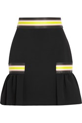 Christopher Kane Striped Stretch Jersey Mini Skirt Black