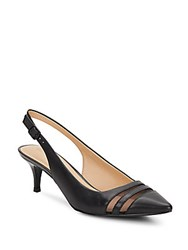 Ellen Tracy Heidi Leather Point Toe Slingbacks Black