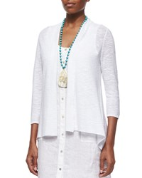 Eileen Fisher 3 4 Sleeve Organic Linen Cotton Cardigan White