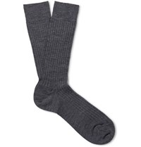 Marcoliani Ribbed Merino Wool Blend Socks Dark Gray