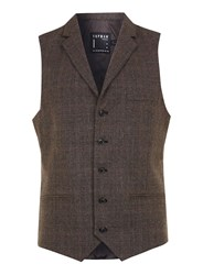 Topman Brown Check Suit Waistcoat With Notch Collar