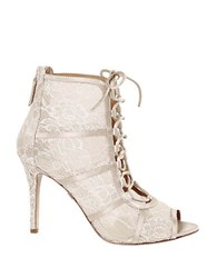 Badgley Mischka Sherry Satin Lace Booties Ivory